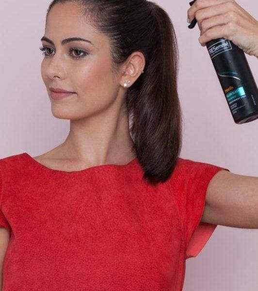 fishtail braid ponytail tutorial: spray your hair