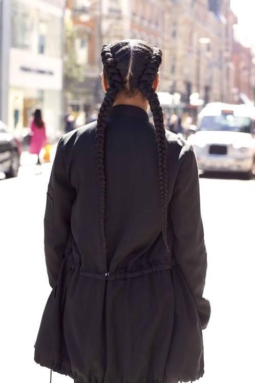 hair braiding: Dutch pigtails