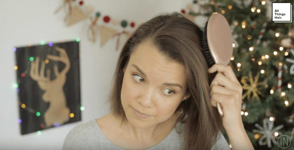 halo braid for the holidays: brush your hair