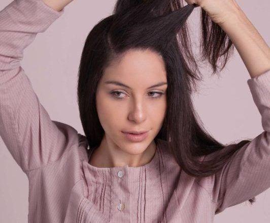 how to do a headband braid: divide hair