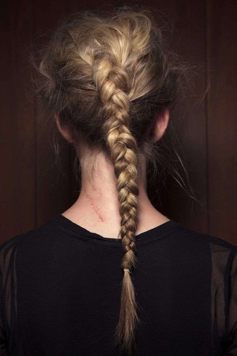 messy inside out braid on blonde hair