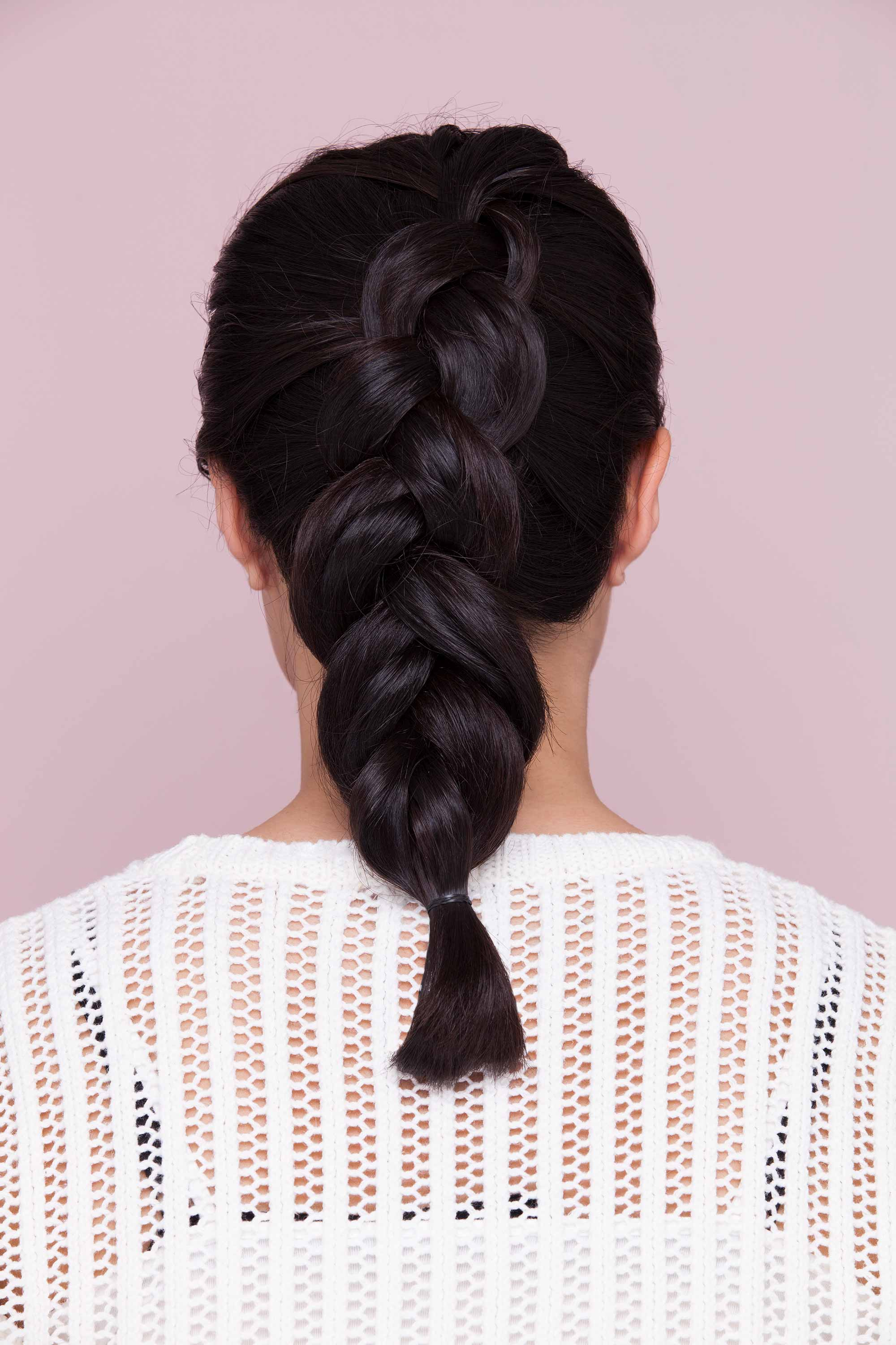 chunky inside out French braid on black hair