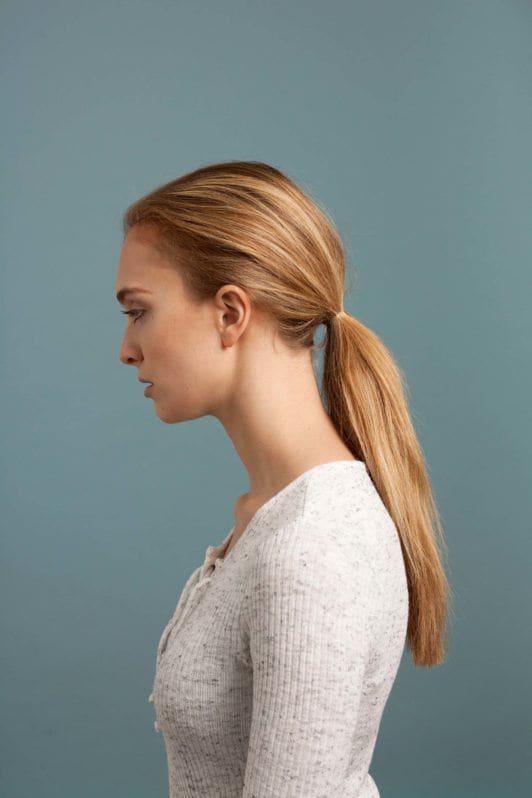 inverted fishtail braid: create low ponytail