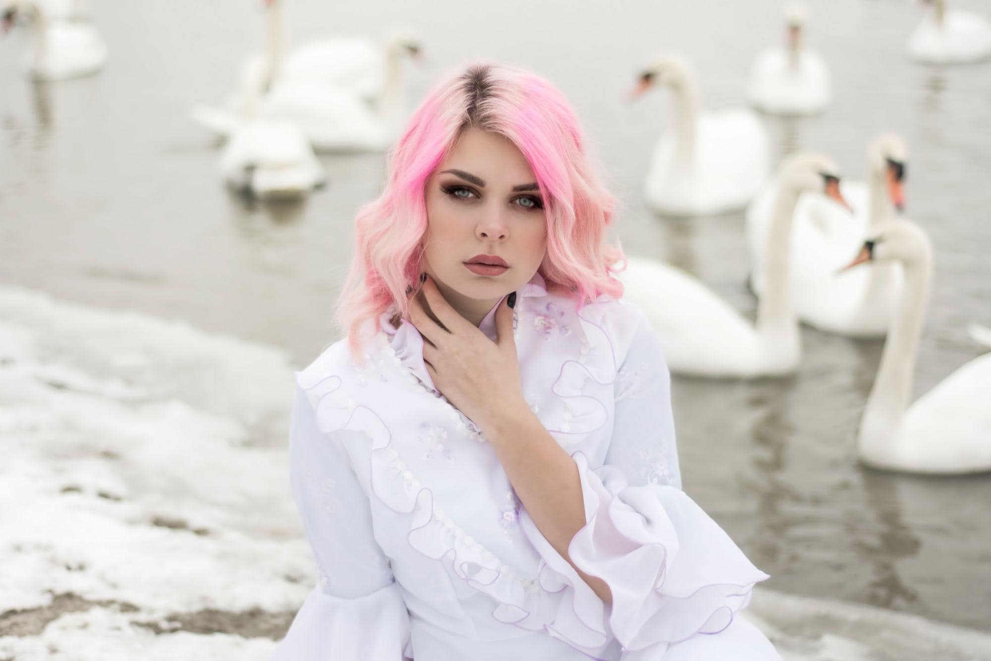 pastel hair colors bright pink rooted curls