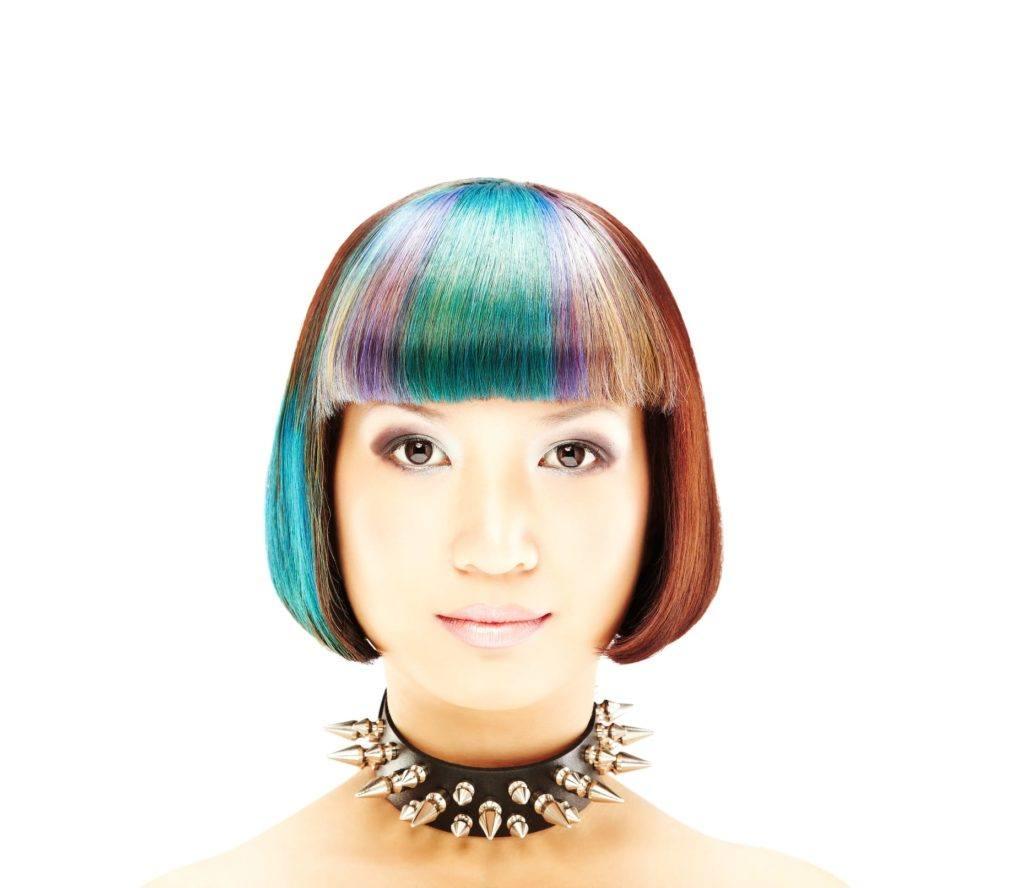 pastel hair colors multi-colored bob