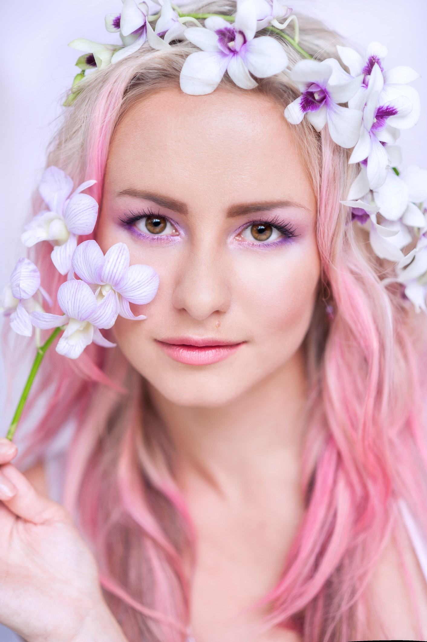 pastel hair colors pink ombre flower crown
