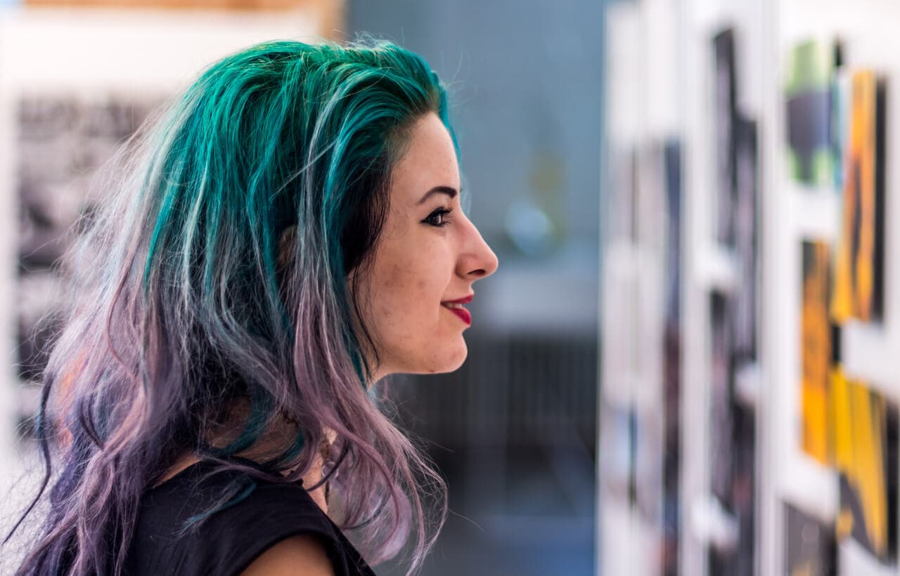 pastel hair colors: purple and green