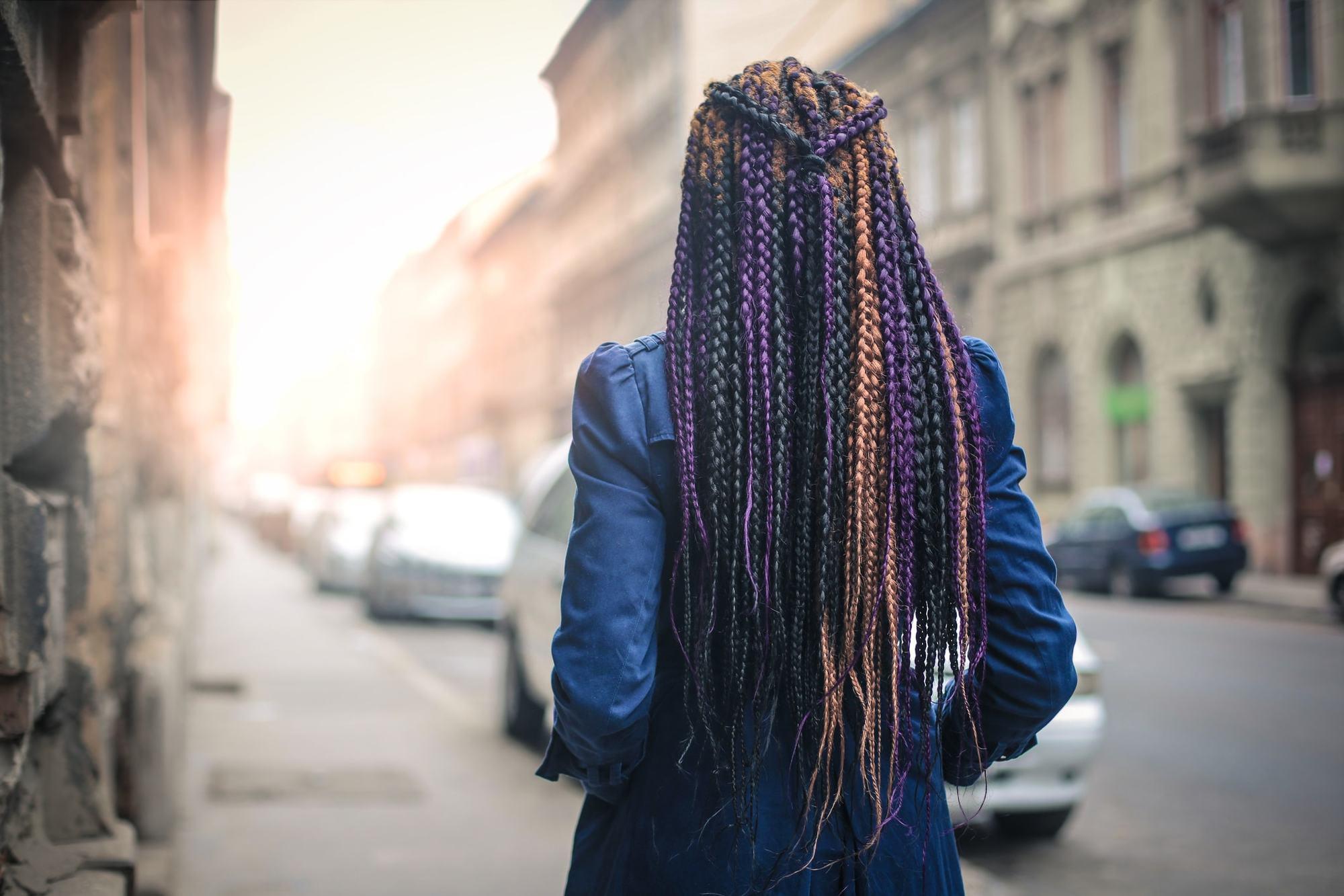 pretty braids gold purple tied up