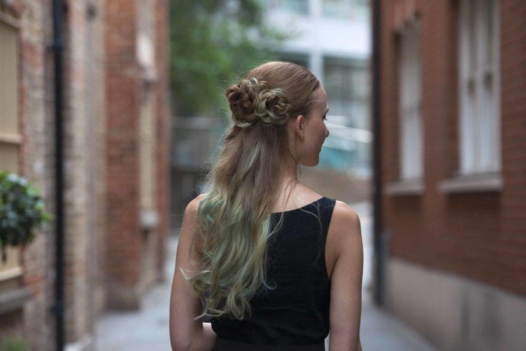 twist braids with a flower braid