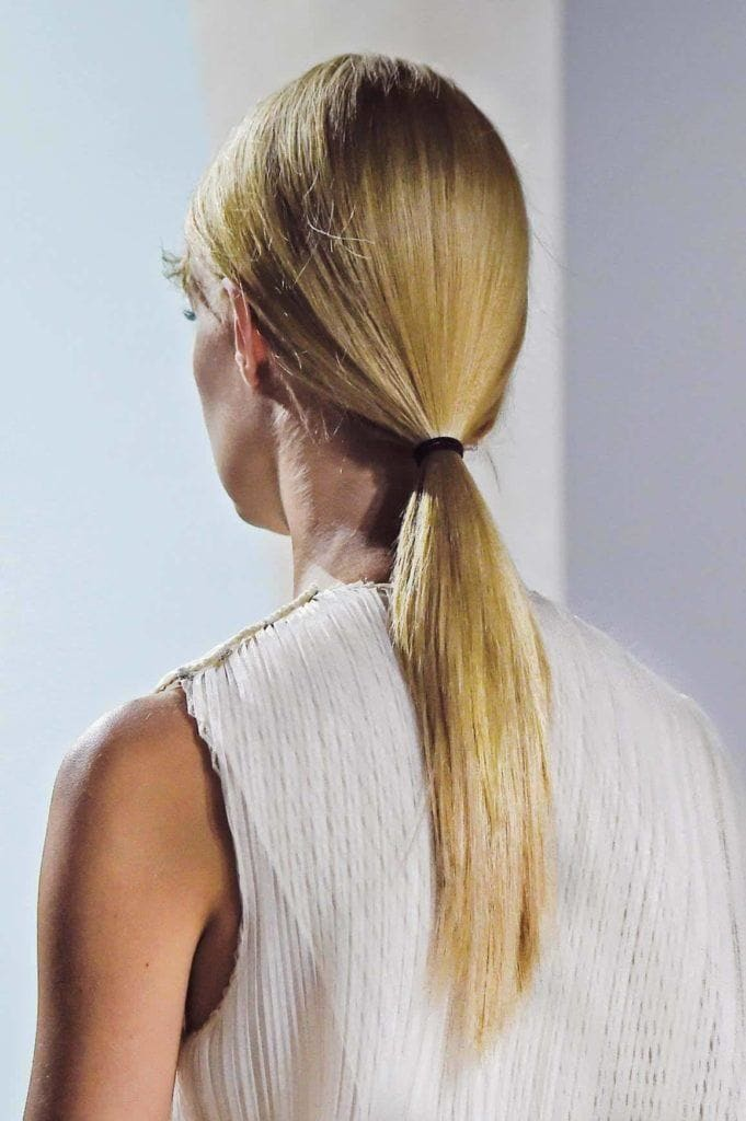 2017 hairstyles low blonde straight ponytail