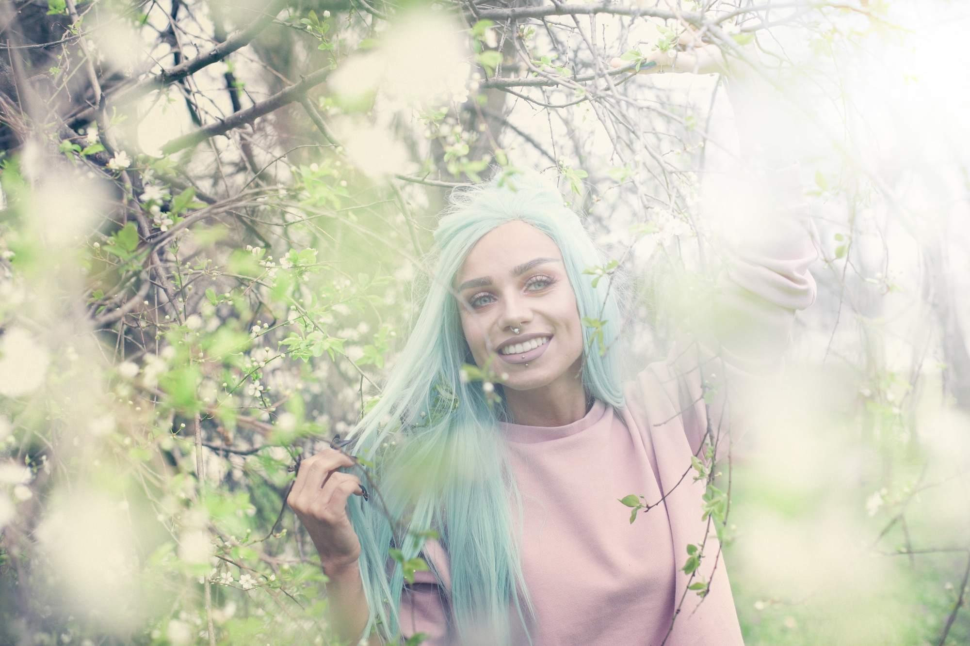 blue hair icy aqua long straight hair