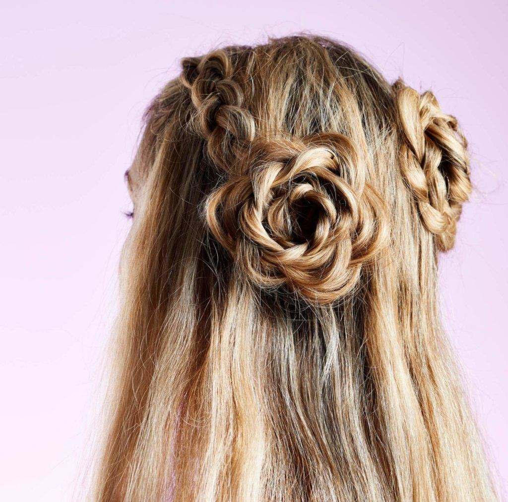 flower bun braided updos for long hair