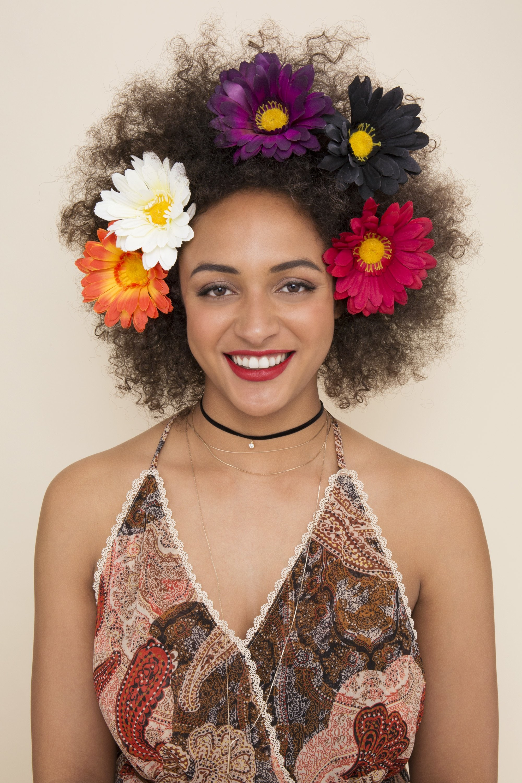 floral afro hair: gerbera daisies