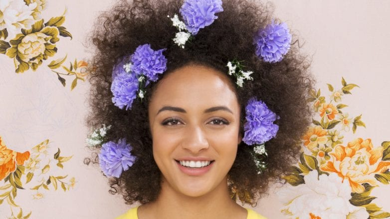 floral afro hair tutorial