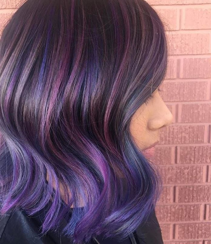 geode hair light and dark purples