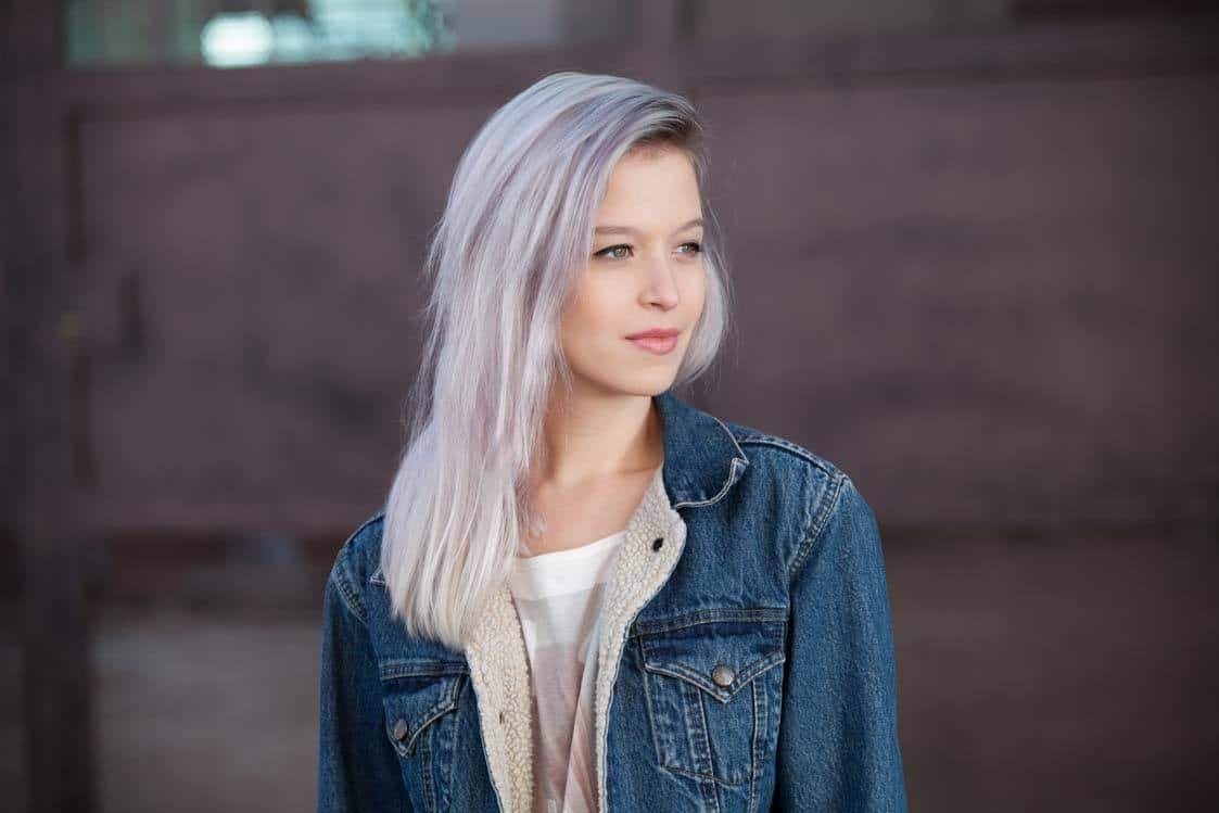 gray hair with lilac tones