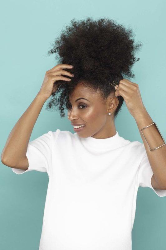 puff natural hair style add pins