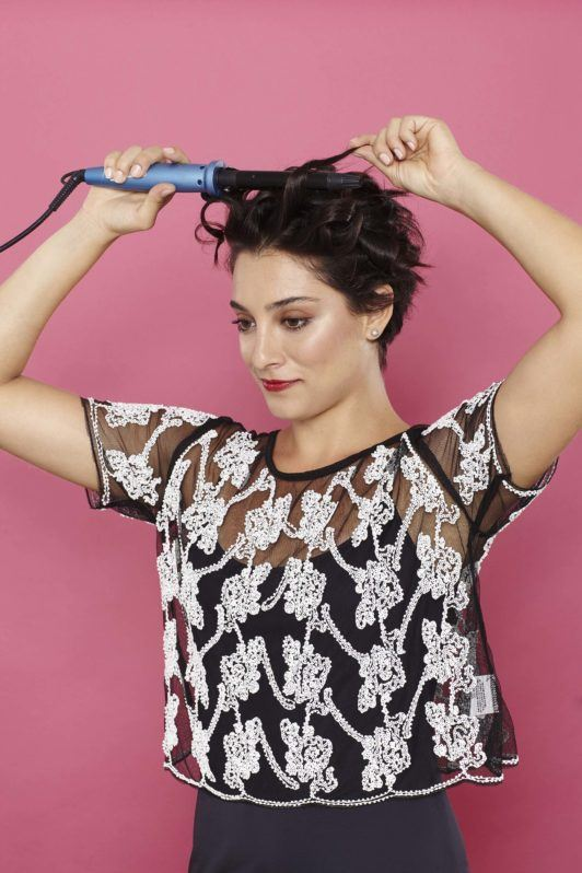 headband with short hair curling wand