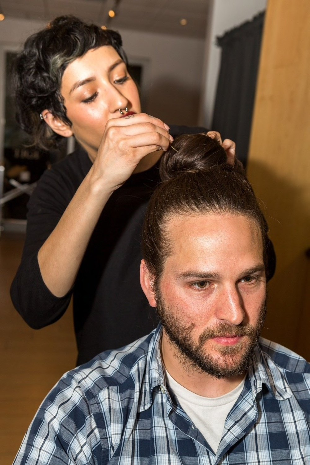 how to do a man bun: secure with pins
