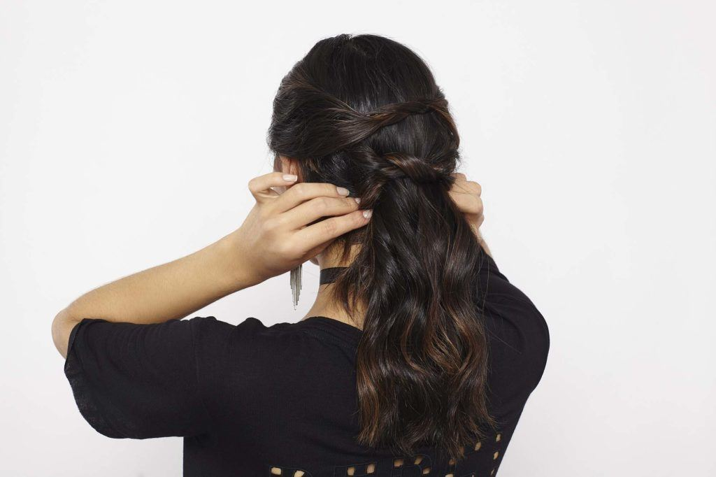 knotted ponytail wrap ends of hair