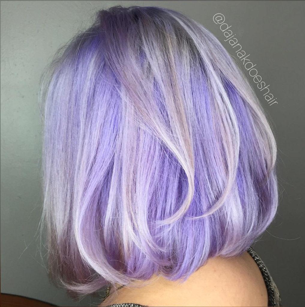 pretty purple hair in a lob