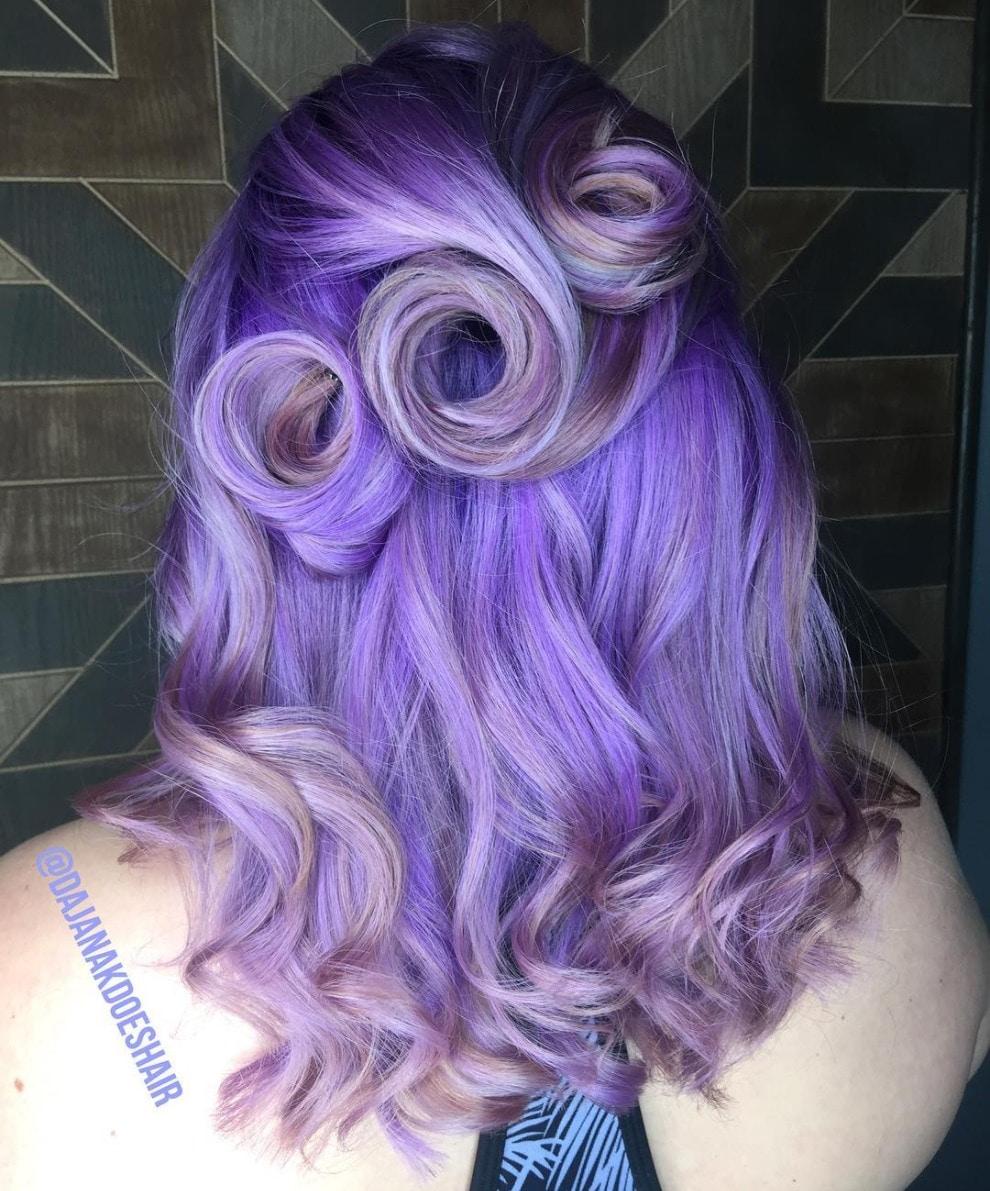 violet purple hair in swirls