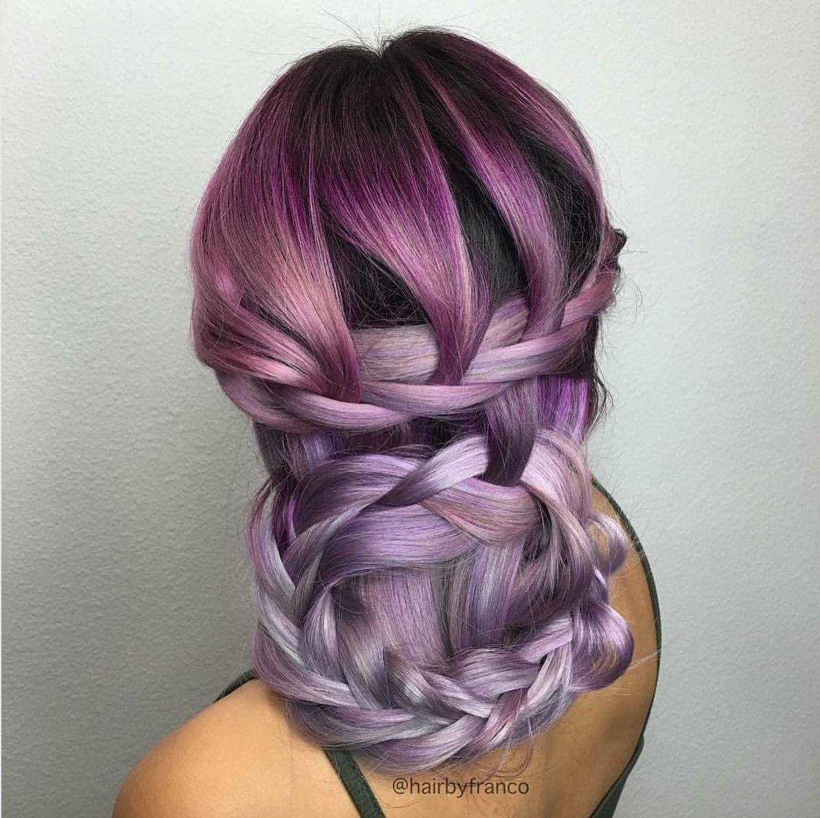 basket braided purple hair
