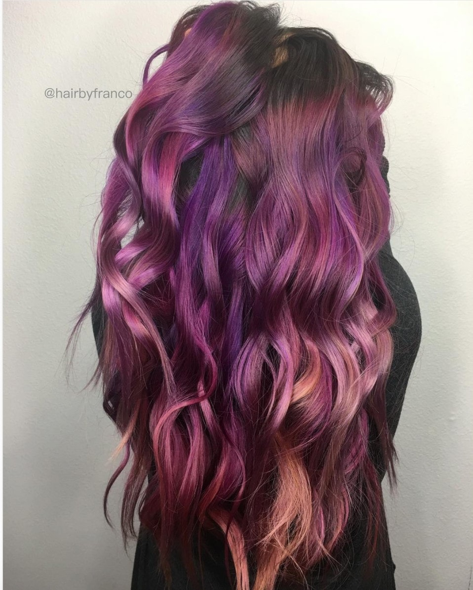 berry purple hair waves
