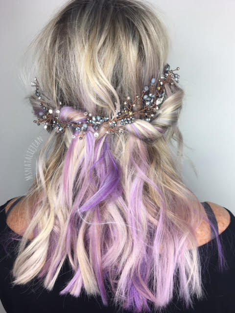 icy purple hair with crown