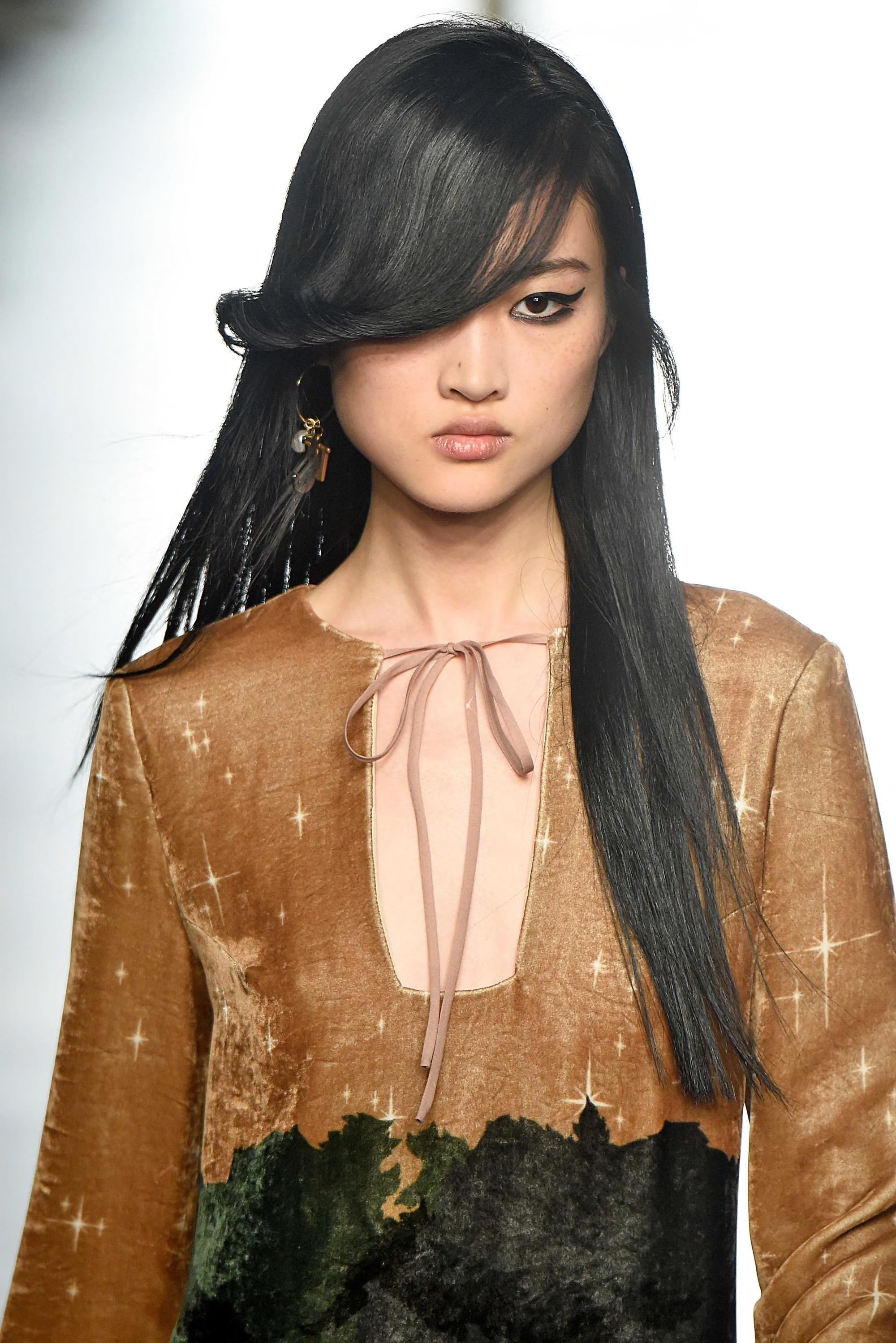 side bangs on long hair