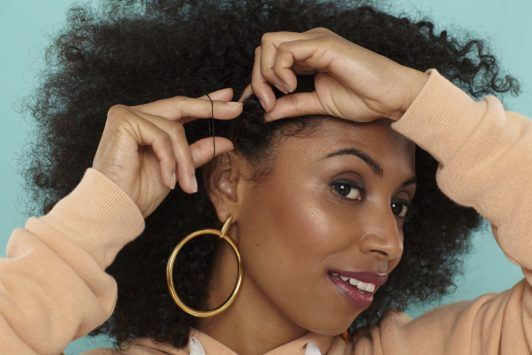 side bantu knots: create knot and secure