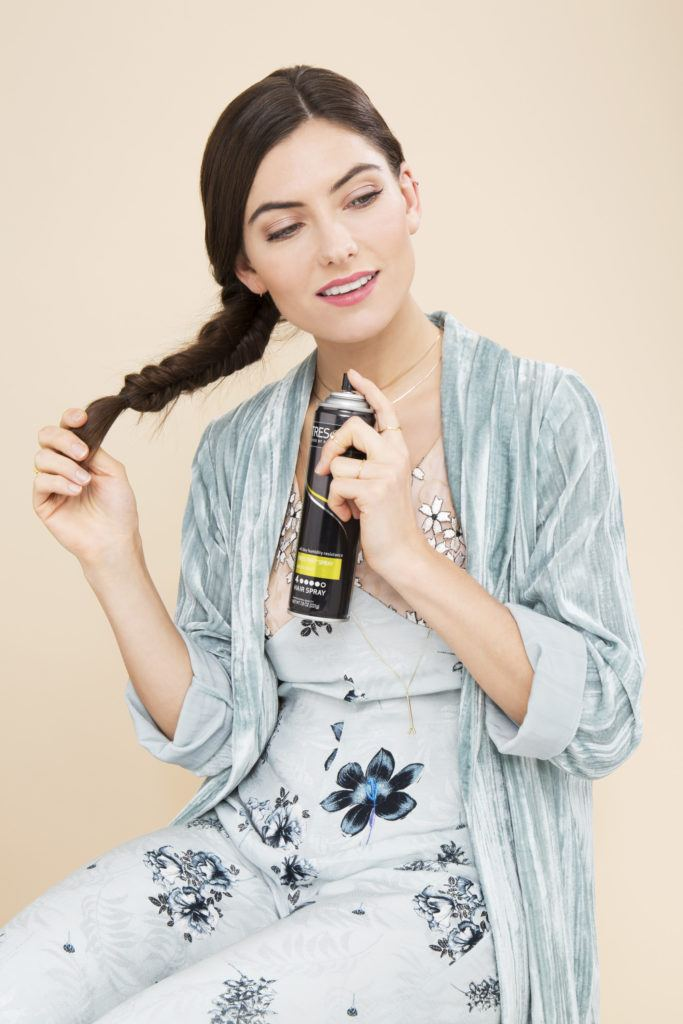 side fishtail braid set with hairspray