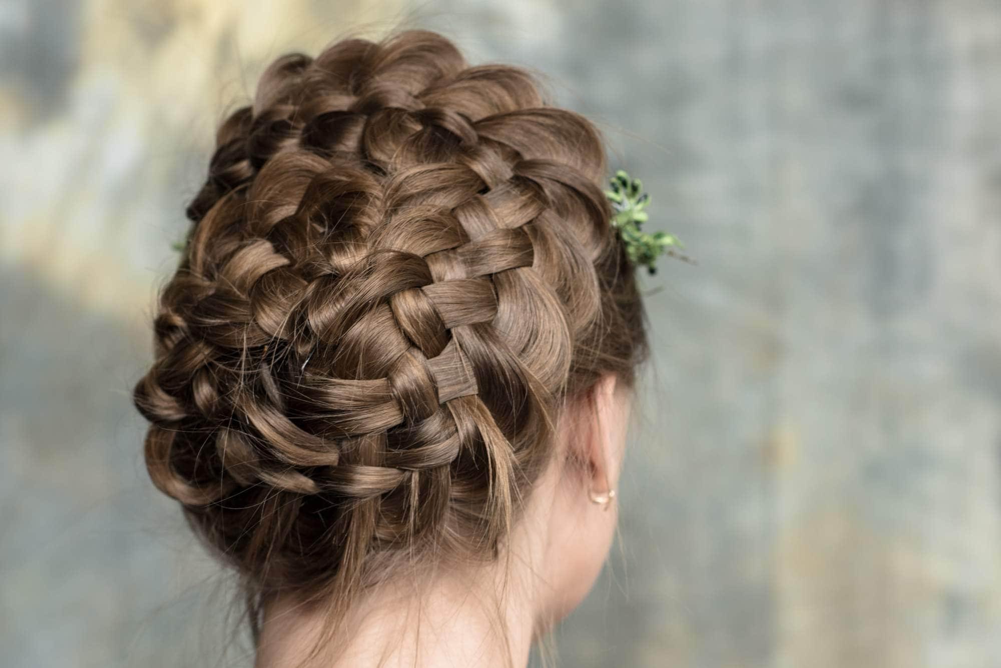 wedding braids basket braid dirty blonde hair