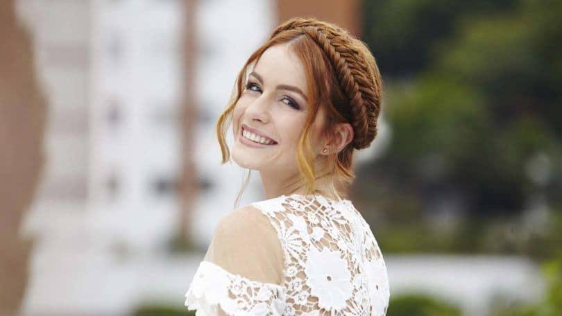 wedding braids red fishtail crown