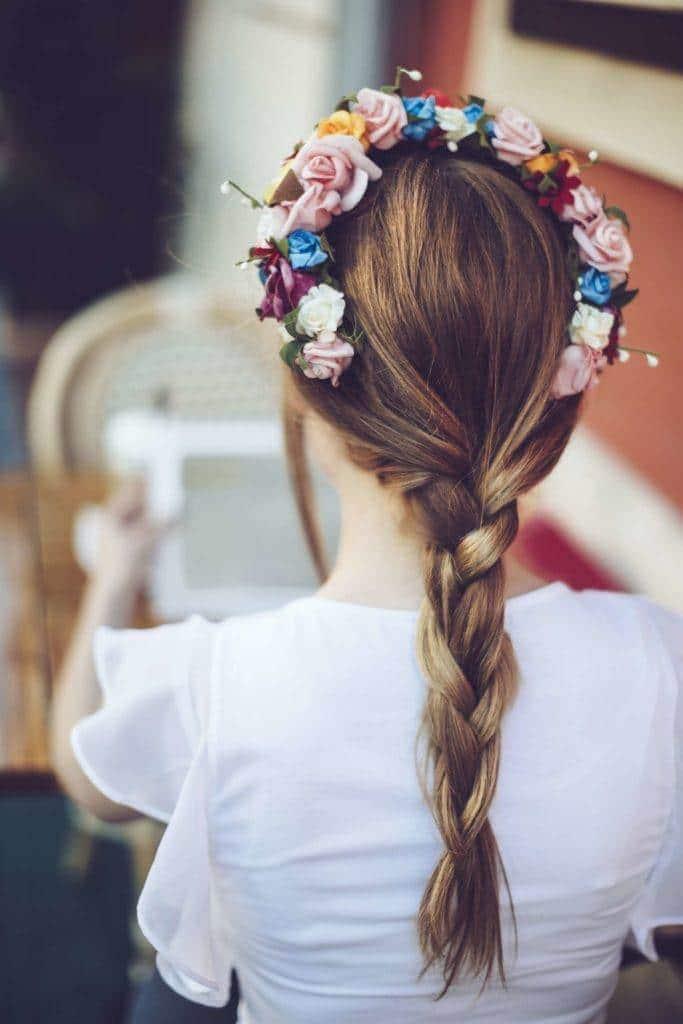 wedding braids three strand braid flower crown