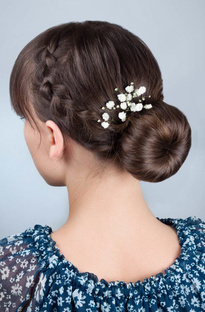 wedding braids ballerina bun with flowers
