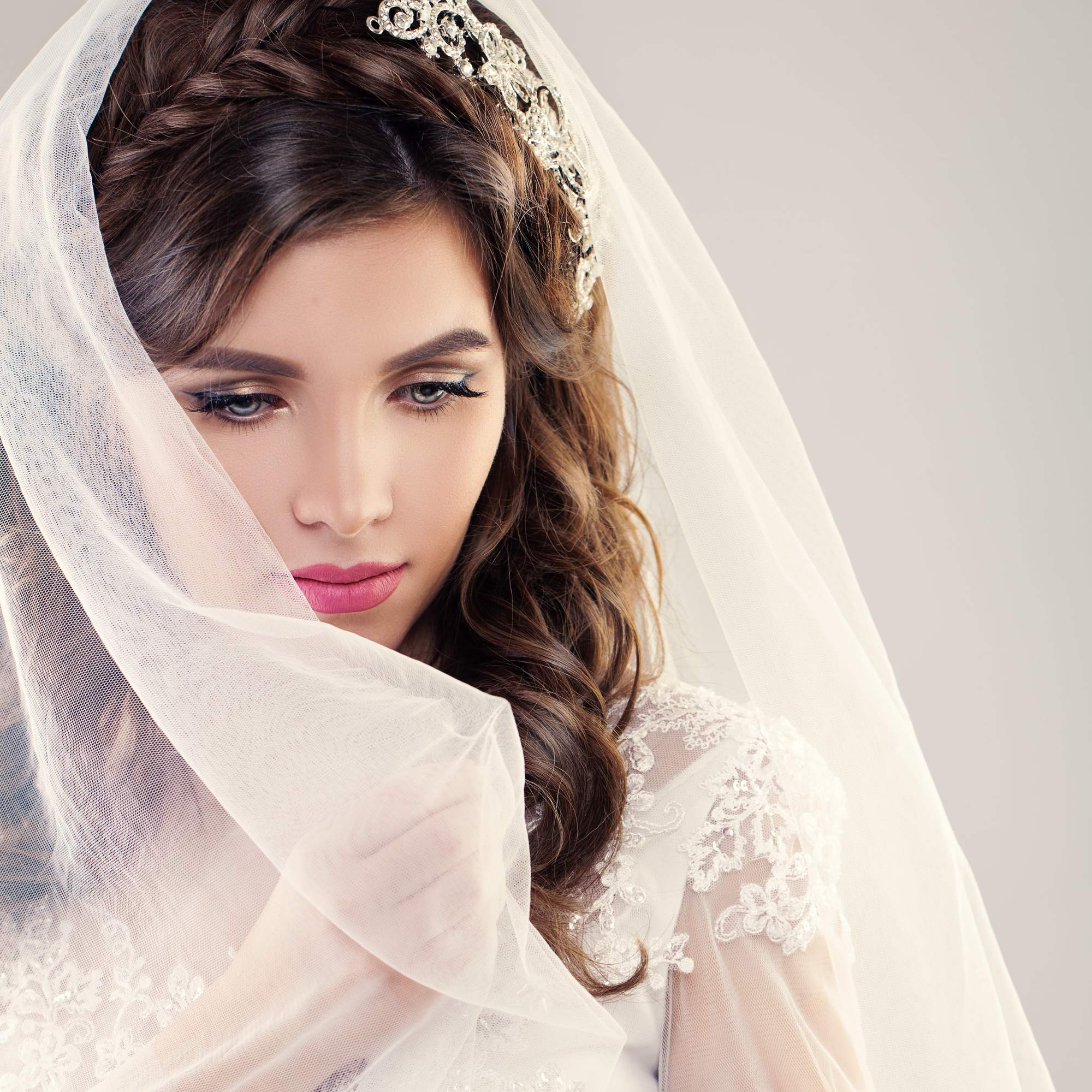 wedding braids loose brown curls braided headband