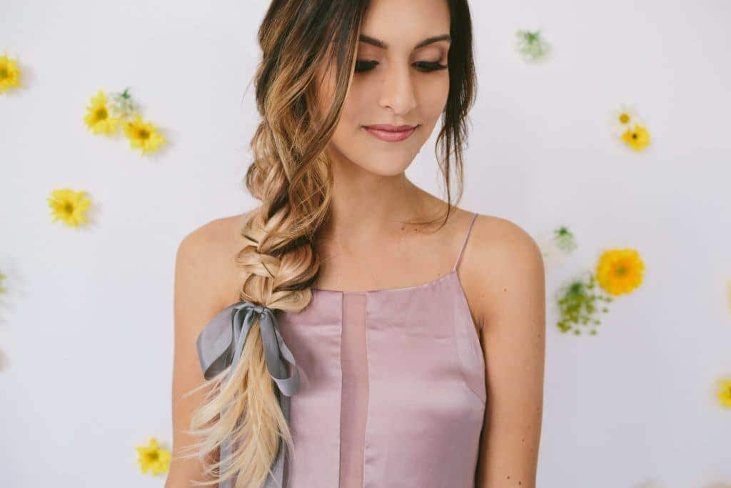 wedding braids simple braid with ribbon ombre hair