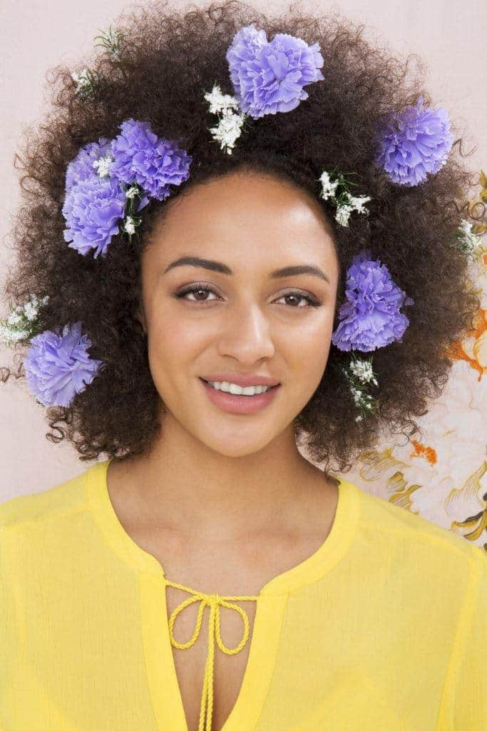 african american hairstyles floral afro