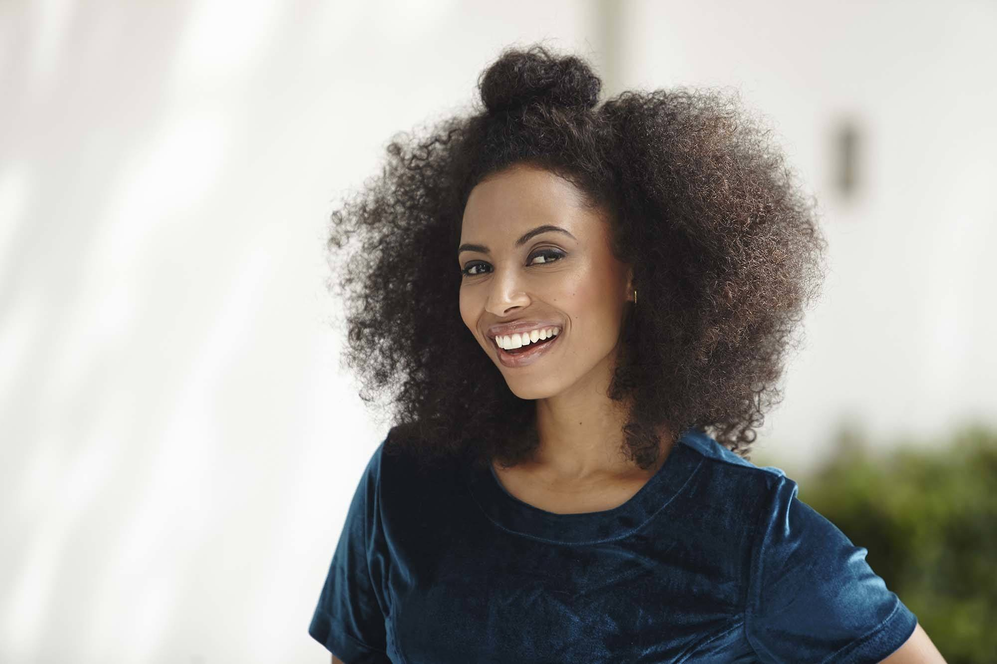 half-up afro hairstyles