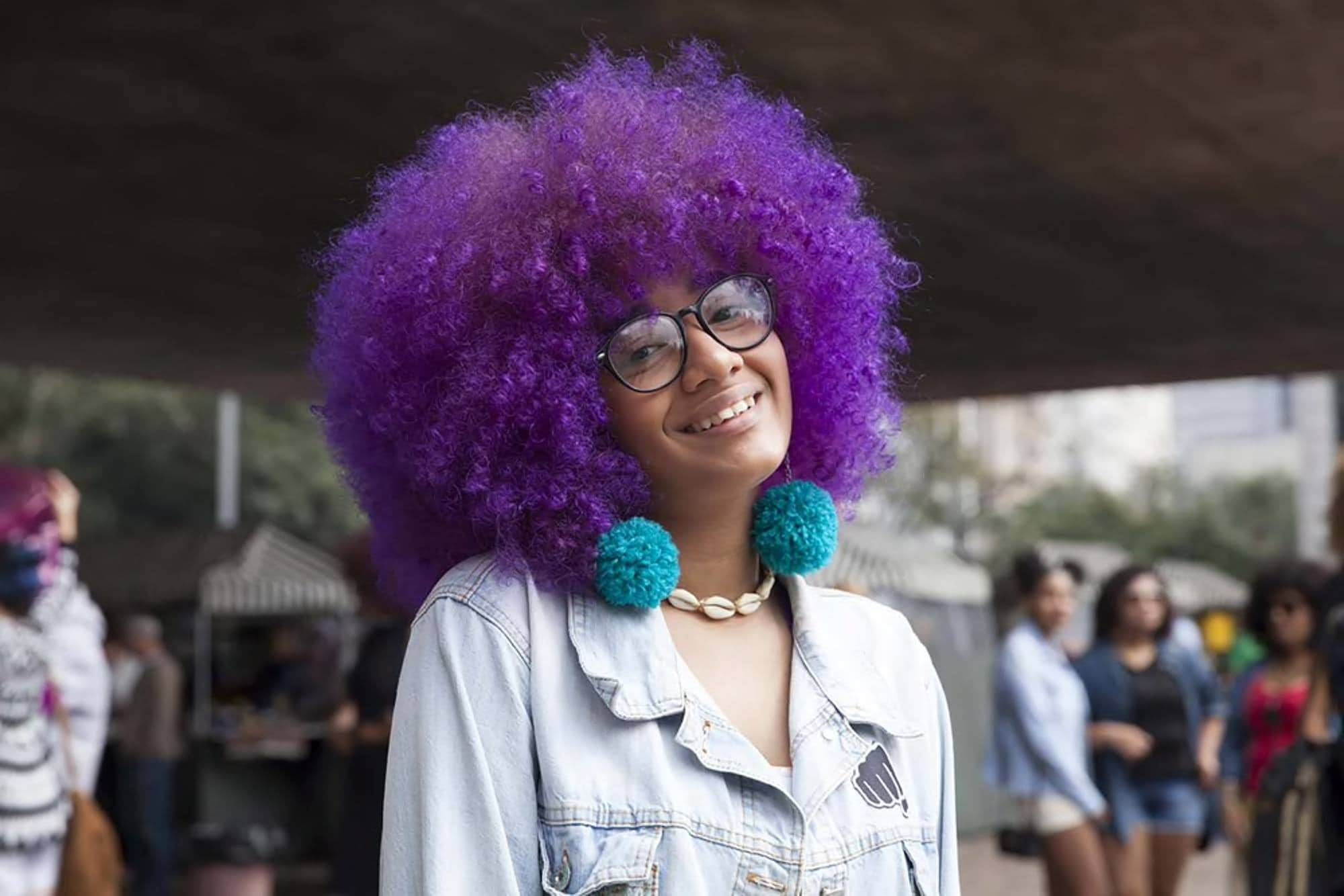 afro hairstyles with purple hair