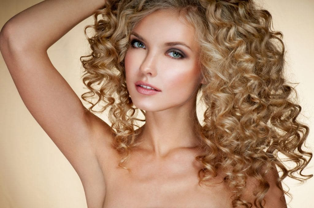 golden balayage curly hair