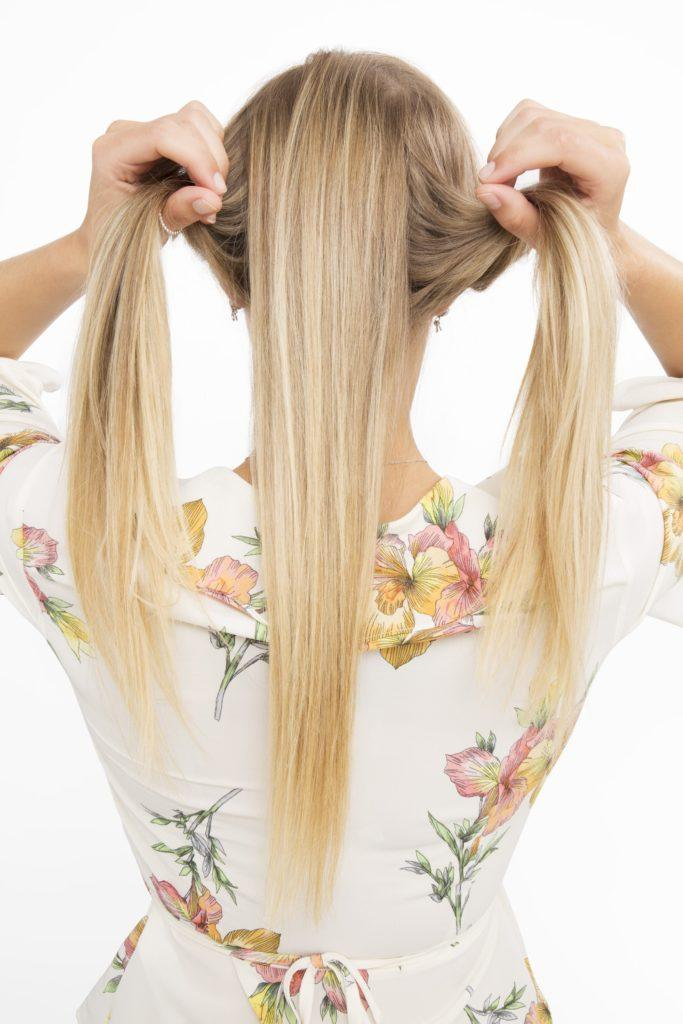 banana bun section hair