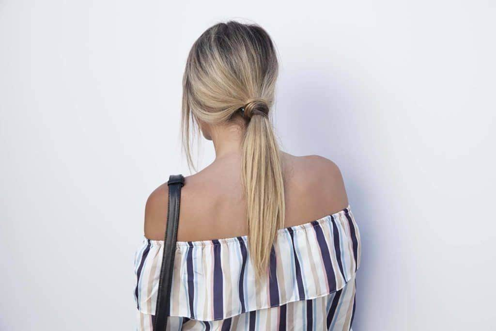 black and blonde ombre ponytail