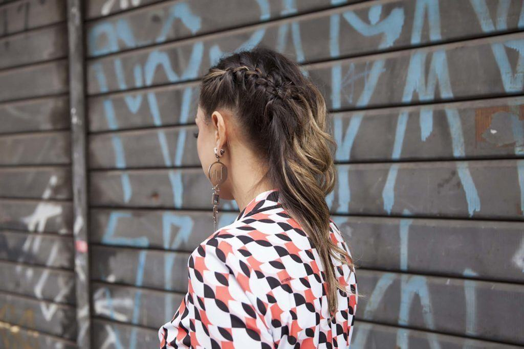 black and blonde ombre side braid