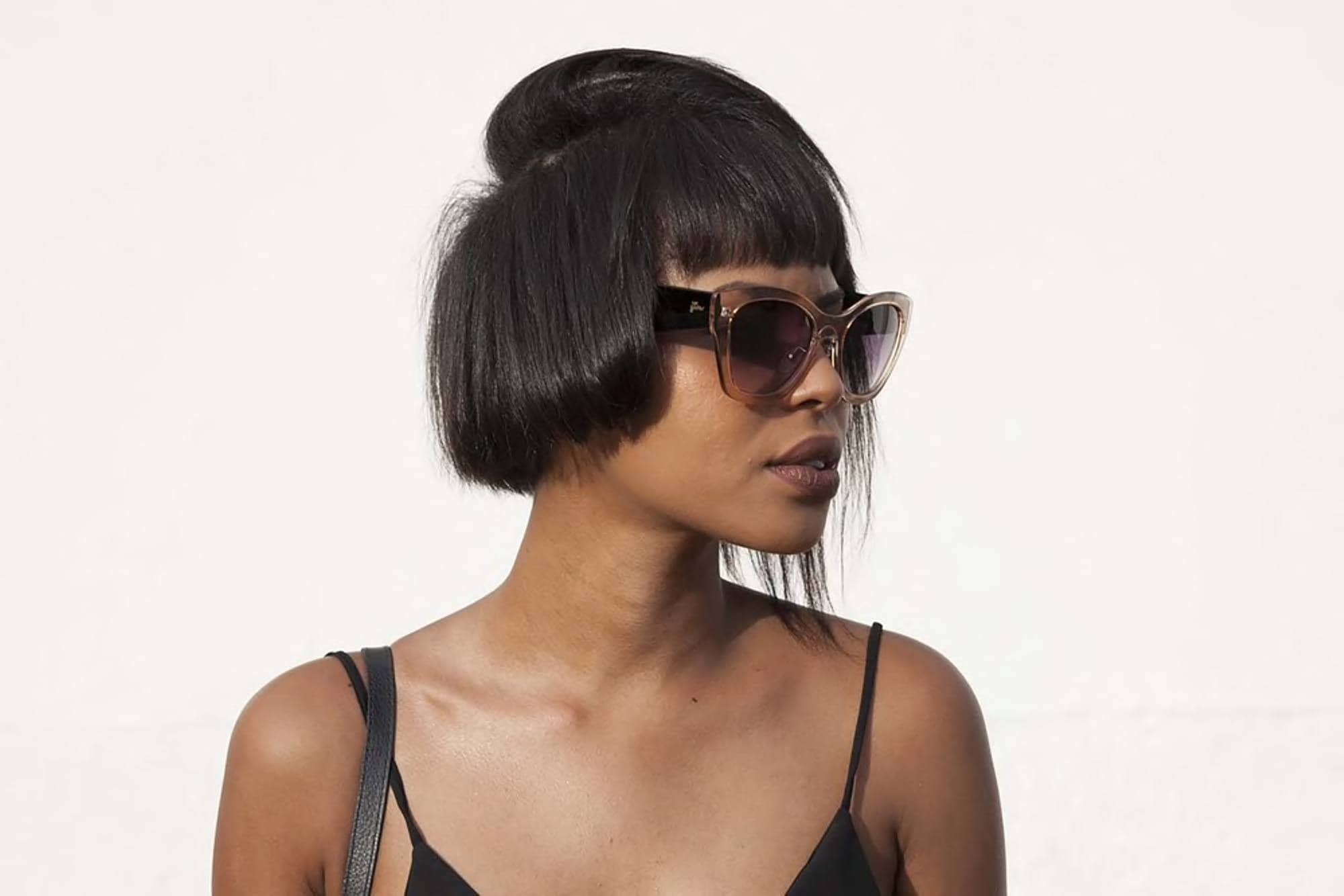 blunt haircut with a cool layer