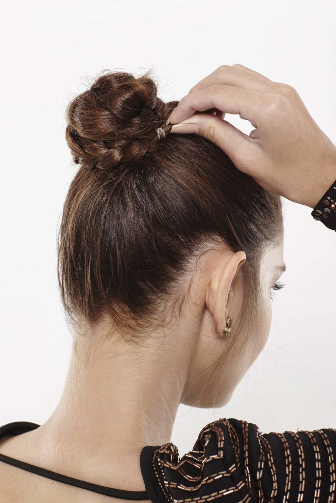 braided ballet bun: wrap second braid