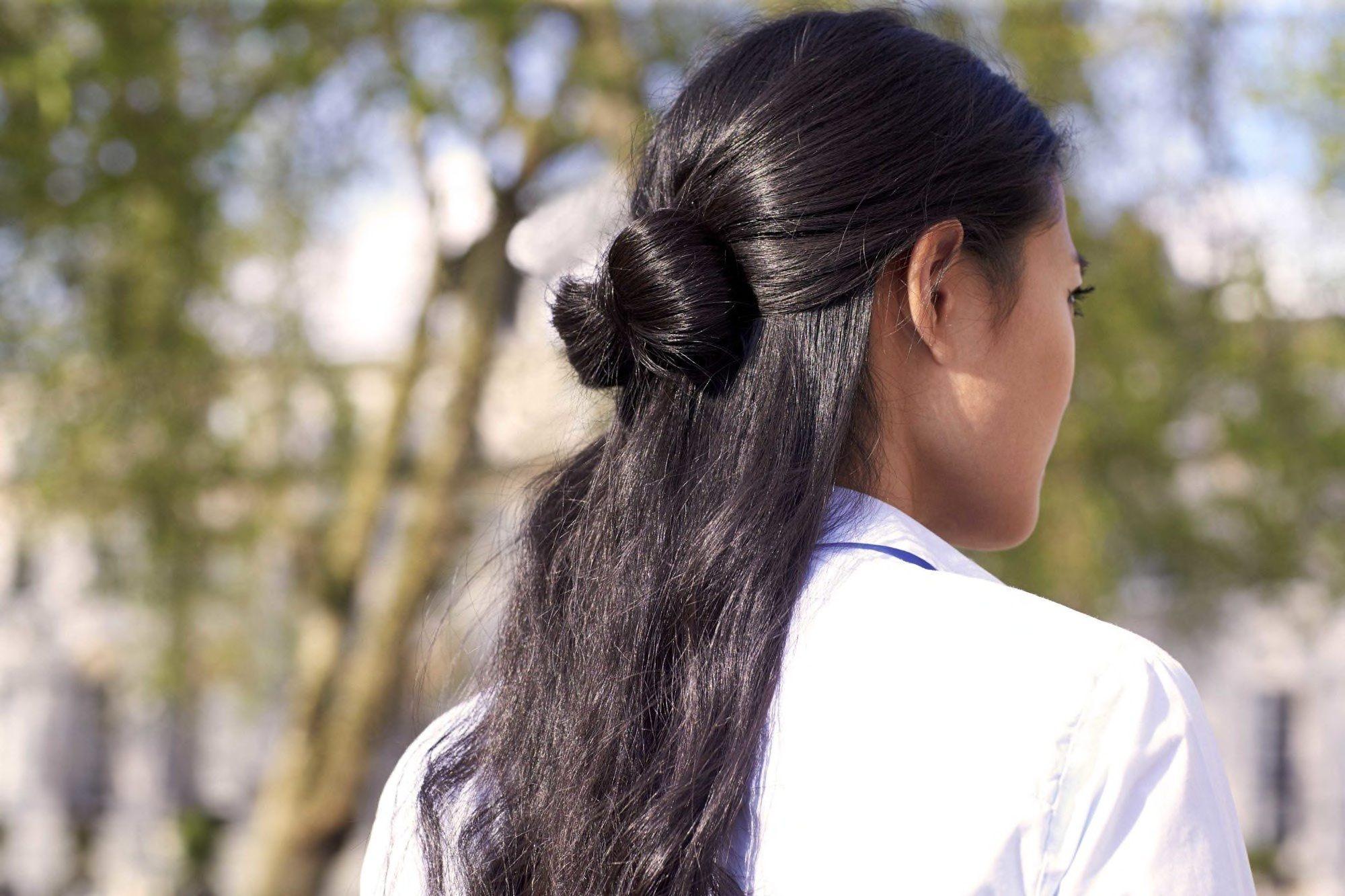 bow bun bridesmaid hairstyles