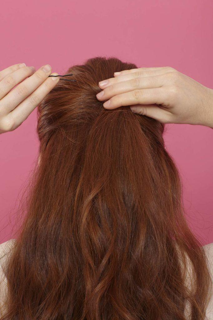 pinned vintage half up hair