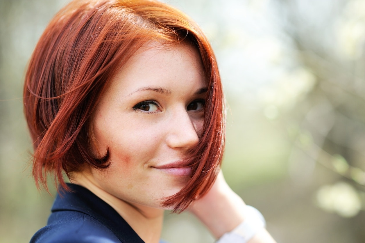 asymmetrical bob: red hair
